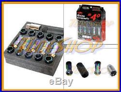 KICS R40 NEO-CHR LOCK LUG NUTS 12x1.5 1.5 FLOATING SEAT ACORN WHEELS RIMS OPEN H