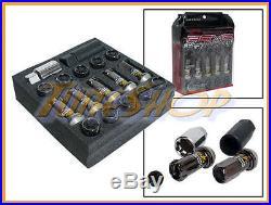 KICS R40 REVO BLACK LOCK LUG NUTS 12x1.5 1.5 FLOATING ACORN WHEELS RIMS CLOSE T