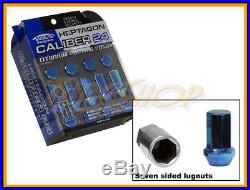 Kics Caliber 24 Ti-blue Lock Lug Nuts 12x1.5 1.5 Acorn Wheel Rim Close 7 Sided T