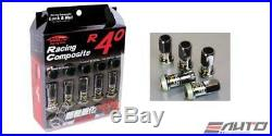 Kics Project R40 12x1.25 Acorn Rim Wheel Lug Nut 16+4pc Lock Glorious Black a
