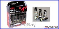 Kics R40 44mm 17hex 12x1.5 Rim Wheel Lug Nut 16+4pc withLock Key Glorious Black a