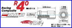 Kics R40 44mm 17hex 12x1.5 Rim Wheel Lug Nut 16+4pc withLock Key Glorious Black b