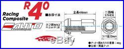 Kics R40 44mm 17hex 12x1.5 Rim Wheel Lug Nut 16+4pc withLock Key Glorious Black e