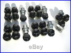 Land Rover Defender 90, 110 Alloy Wheel Nut Set X23 GLOSS BLACK + Locking Nuts