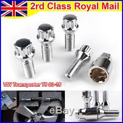 Locking Alloy Wheel Tapered Nuts Lug Bolts M14x1.5 for VW Transporter T5 03-15