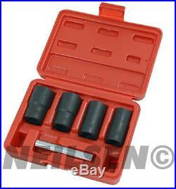 Locking Wheel Nut Remover 5 Piece Set 17mm 19mm 21mm 22mm Twist Socket Set 1/2
