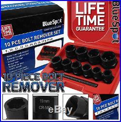 Locking Wheel Nut Removers 11pc 3/8 Nut Bolt Stud Extractor Twist Socket Set
