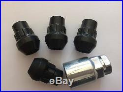 M12x1.25 Black Alloy Wheels Locking Nuts + Key Fits Suzuki + Infiniti Models