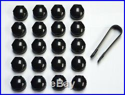 MERCEDES A B C E S CLA CLC CLS 17mm WHEEL NUT BOLT COVERS LOCKING CAPS BLACK x20