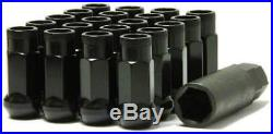 Muteki Sr48 Black 48mm 12x1.5 Open Ended 20 Pcs Lug Nuts With Locks Set Acorn