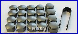 NEW GENUINE SKODA FABIA 17mm WHEEL NUT BOLT COVERS LOCKING CAPS WITH TOOL