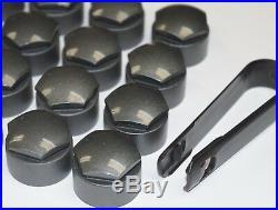 NEW GENUINE SKODA OCTAVIA 17mm WHEEL NUT BOLT COVERS LOCKING CAPS ROUND + TOOL