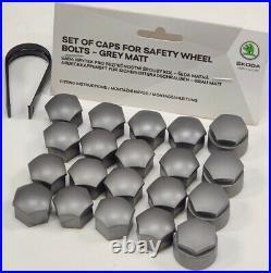 NEW GENUINE SKODA OCTAVIA 17mm WHEEL NUT BOLT COVERS LOCKING CAPS WITH TOOL