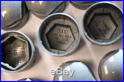 NEW GENUINE SKODA YETI 17mm WHEEL NUT BOLT COVERS LOCKING CAPS ROUND + TOOL