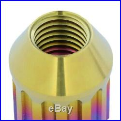 NRG Neo Chrome Open End Spline M12x1.25 Titanium Wheel/Rim Lock Lug Nuts+Key