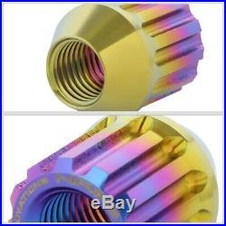 NRG Neo Chrome Open End Spline M12x1.5 Titanium Wheel/Rim Lock Lug Nuts+Key