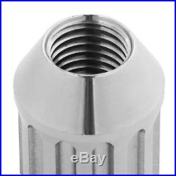 NRG SIlver Open End Spline M12x1.25 Titanium Wheel/Rim Lock Lug Nuts+Adapter Key