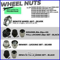 OE Black Chrome stealth locking wheel nut full set for Sport L320 alloy 20pc