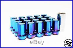 Project Kics Caliber 24 12x1.25 20 Pcs Titanium Blue Lug Nuts 7-sided Lock Acorn