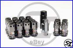 Project Kics R40 Iconix 12x1.25 16+4 Pcs Black Chrome Lug Nuts With Locks Acorn
