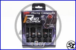 Project Kics R40 Iconix 12x1.5 16+4 Pcs Matte Black Lug Nuts With Locks Acorn