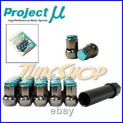 Project Mu Pmu Super 7 Lock Lug Nuts 12x1.25 1.25 Teal Acorn Wheels Rims Close N