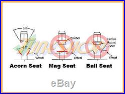 Rays Volk Racing 42mm Dura Wheels Lock Lug Nuts 12x1.25 1.25 Acorn Rim Black N