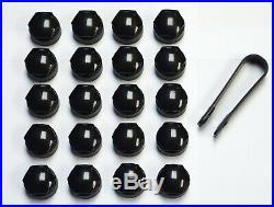 SEAT IBIZA LEON ALHAMBRA ALTEA 17mm WHEEL NUT COVERS LOCKING BOLT CAPS BLACK