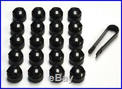 SEAT IBIZA LEON ALHAMBRA ALTEA 17mm WHEEL NUT COVERS LOCKING BOLT CAPS BLACK x20