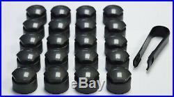 SEAT IBIZA LEON ALHAMBRA ALTEA 17mm WHEEL NUT COVERS LOCKING BOLT CAPS DARK GREY