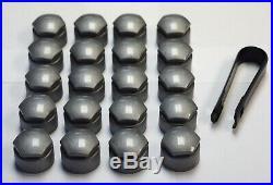 SKODA FABIA OCTAVIA SUPERB 17mm WHEEL NUT COVERS LOCKING BOLT CAPS ALLOY GREY