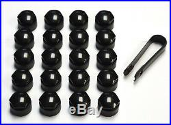 SKODA FABIA OCTAVIA SUPERB 17mm WHEEL NUT COVERS LOCKING BOLT CAPS BLACK x20