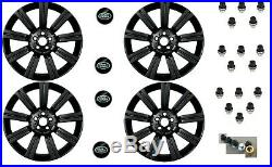 Set 4 Stormer 20 Matt Black Wheels Locking Nuts & Caps Sport Discovery Lrc1498