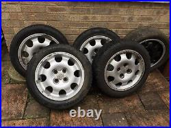 Set Of 5 15 Inch Peugeot 205 Alloys With Eagle F1 Tyers Wheel And Locking Nuts