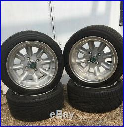 Set of Mini-lite alloy wheels 7 X 12 with Yokohama tyres, inc. Locking nuts