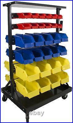 Steel Dragon Tools 60 Bin Parts Storage Rack with Locking Wheels Shop Nut Bolt