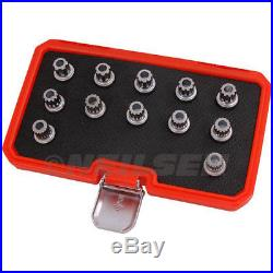 VAG VW Locking Wheel Nuts Stud 12pc Socket Set Multi Ribe Spline VW Master Kit