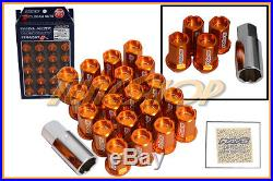 Volk Racing Rays Straight L42 Dura Wheels Lock Lug Nut 12x1.25 1.25 Rim Orange S