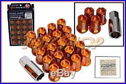Volk Racing Rays Straight L42 Dura Wheels Lock Lug Nuts 12x1.5 1.5 Rim Orange H