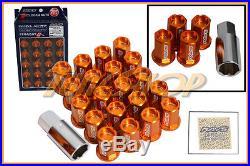Volk Racing Rays Straight L42 Dura Wheels Lock Lug Nuts 12x1.5 1.5 Rim Orange M