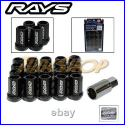 Volk Racing Rays Straight L42 Dura Wheels Lock Lug Nuts 14x1.5 M14 Rim Black