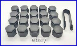 WHEEL NUT COVERS AUDI Q7 2006-2015 19mm BOLT LOCKING CAPS WITH TOOL DARK GREY
