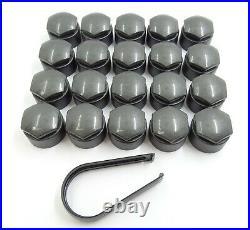 WHEEL NUT COVERS FOR CITROEN C1 C3 C4 PICASSO 17mm LOCKING CAPS GREY x20 + TOOL