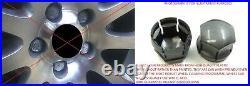 WHEEL NUT COVERS FOR VW POLO GOLF PASSAT TOURAN 17mm LOCKING BOLT CAPS DARK GREY