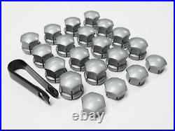 WHEEL NUT COVERS VOLVO V90 XC90 S90 XC60 S60 LOCKING BOLT CAPS 19mm ALLOY GREY