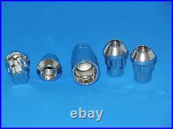 Wheel Lock Locking Lug Nuts Closed Bulge Acorn/Cone Seat, Chrome, 12x1.5