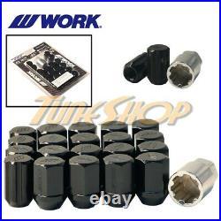 Work Racing Rs Type Forged Aluminum Lock Lug Nuts 12x1.5 M12 1.5 Black 20 Pcs H