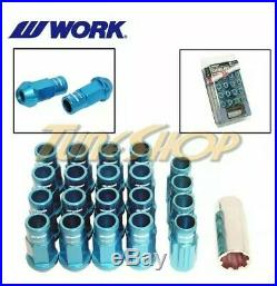 Work Racing Rs-r Extended Forged Aluminum Lock Lug Nuts 12x1.5 1.5 Blue Open End