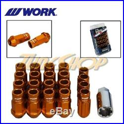 Work Racing Rs-r Extended Forged Aluminum Lock Lug Nuts 12x1.5 1.5 Orange Open T