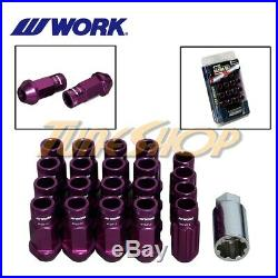 Work Racing Rs-r Extended Forged Aluminum Lock Lug Nuts 12x1.5 1.5 Purple Open T